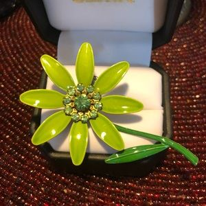 Vintage Green Enamel Flower Brooch